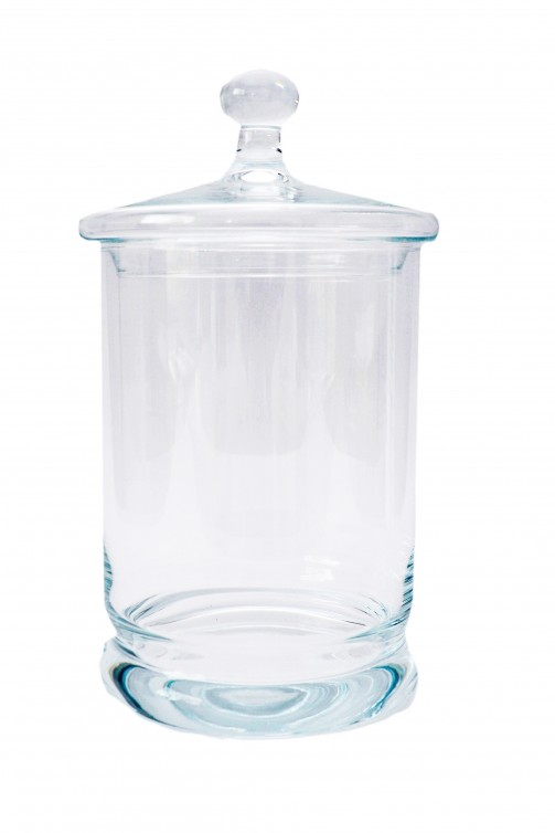 Bombonierka szklana, śr. 14 cm, wys. 26 cm