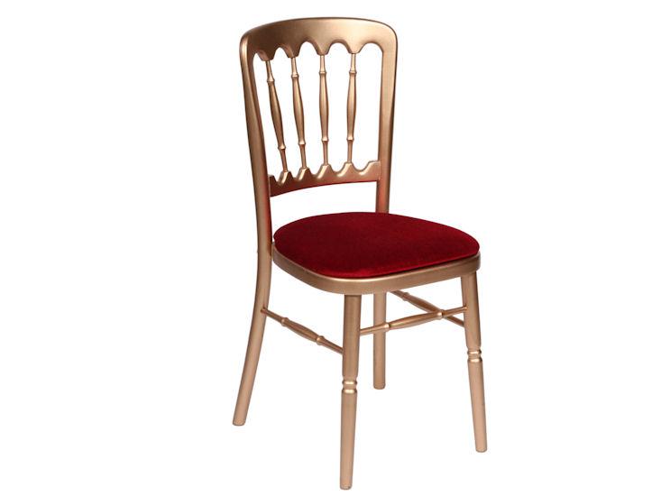 Krzesło drewniane złote, siedzisko - czerwony aksamit
