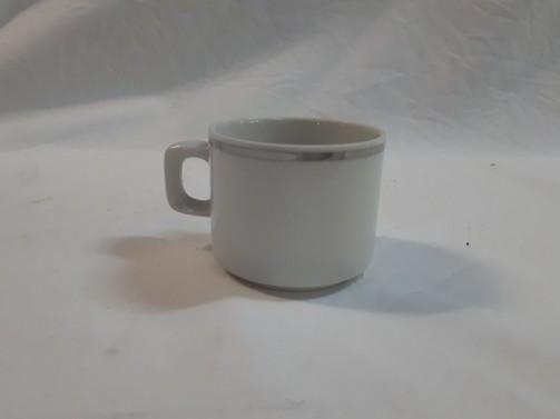 Filiżanka espresso, biała zsrebrnym rantem