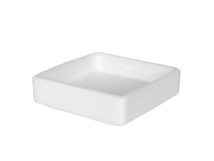 Miseczka kwadratowa, 8 x 8 x 2,5 cm, biała, żaroodporna