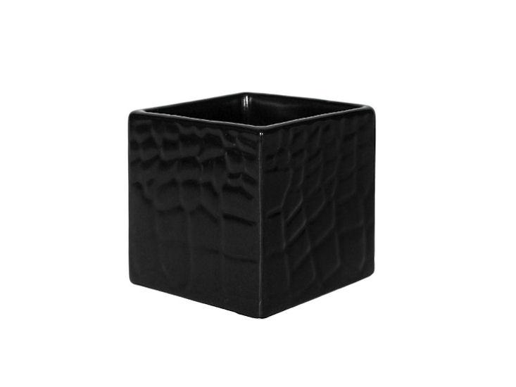Wazon / donica, 8 x 8 x 8 cm, czarny