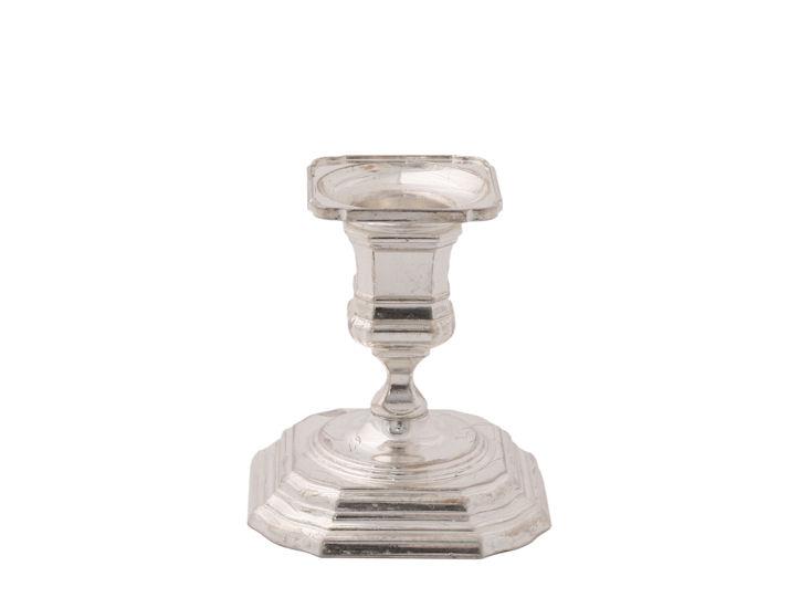 Świecznik Line, wys. 8,5 cm, posrebrzany