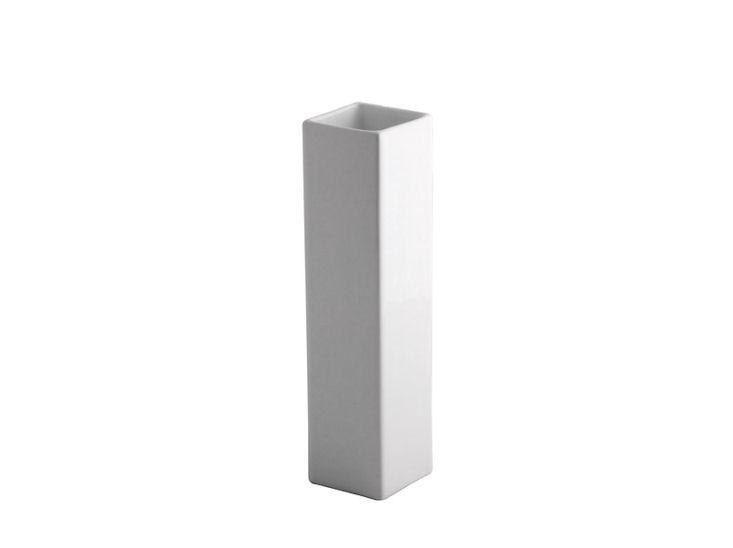 Wazon, 6 x 6 cm, wys. 25 cm, biały