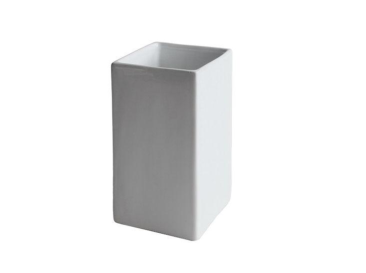 Wazon / donica, 8 x 8 cm, wys. 16 cm, biały