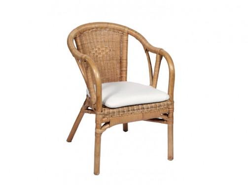 Fotel Matri, rattan, doużytku zewnętrznego, zpoduszką
