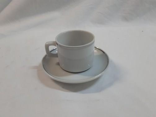 Podstawek espresso, biały zsrebrnym rantem