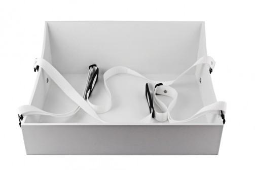 Bauchladen, taca zawieszana, biała, 50 x 40